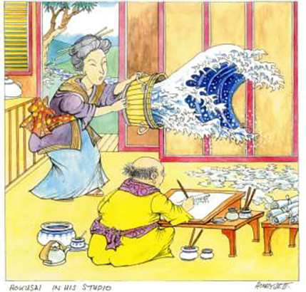 Honeysett cartoon - Hokusai in his Studio